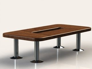 Large wooden office desk on iron nickel-plated legs
