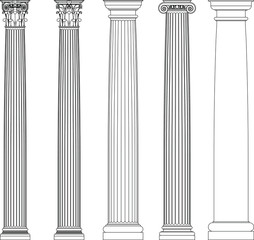 Set of greek columns