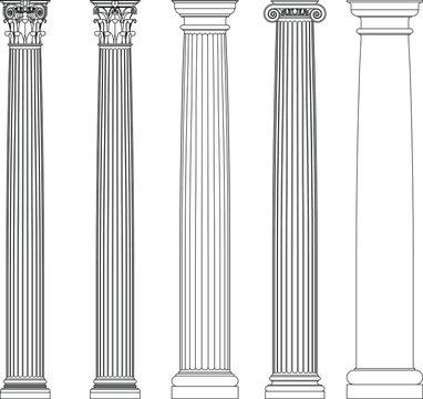 Set of greek columns