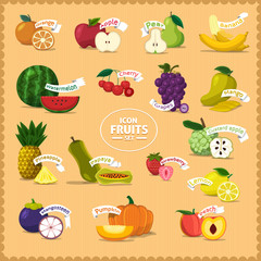 Vector Icon fruits and slice with style cartoon vintage
