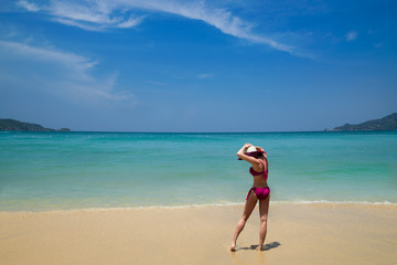 Woman on a Secluded Beach on the Phuket Coast in Thailand