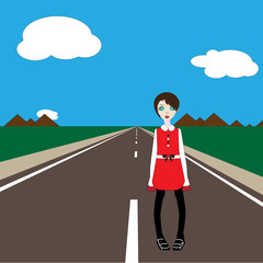 vector sad girl standing on the road