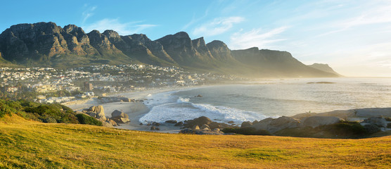 Camps Bay Beach in Cape Town, South Africa, with the Twelve Apostles in the background. Wall mural