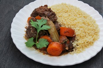 Moroccan beef stew with couscous and egetables