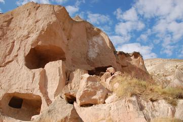 Ortahisar cave city in Cappadocia, Turkey