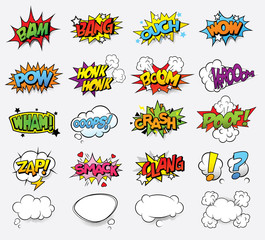 In de dag Pop Art Comic sound effects