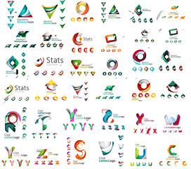 Vector abstract company logo mega collection, type letters and
