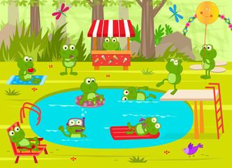 Frogs Pool Party - Cute frogs are having fun at the pool. Eps10