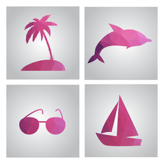 Set of cards in polygonal style. Beach, island, palm tree, boat,