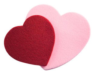 Valentines Day Hearts, pink and red, isolated on white.