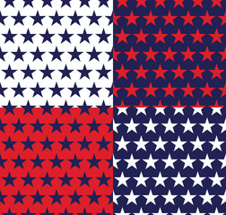 Four seamless pattern with stars