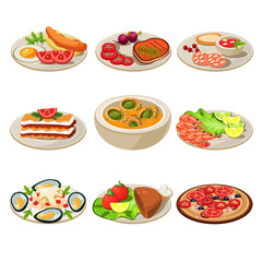 Set of Food Icons European lunch