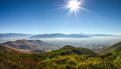 Panoramic view at Oaxaca city from Monte Alban in Mexico
