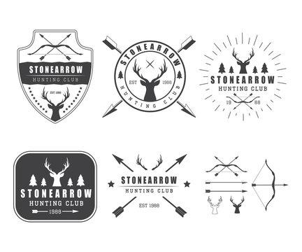 Set of vintage hunting labels, logo, badge and design elements