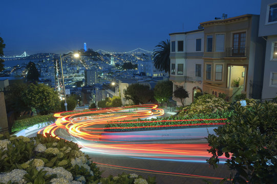 Famous Attraction Lombard Stret in San Francisco at Night