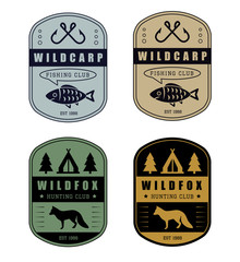 Set of vintage hunting and fishing logo