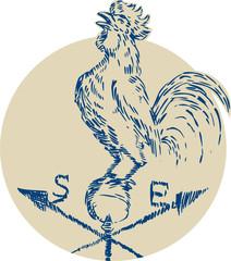Rooster Cockerel Crowing Weather Vane Etching