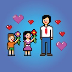 Father's day celebration - pixel art style vector