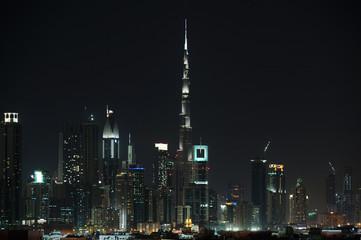 Dubai World Trade center and Burj Khalifa an night