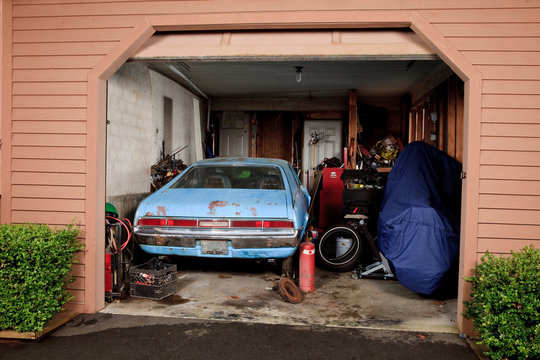 Looking into a cluttered home garage