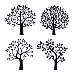 Black vector trees with leafs.
