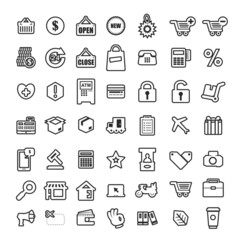 Icon shopping vector set