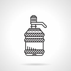 Flat line water cooler bottle vector icon