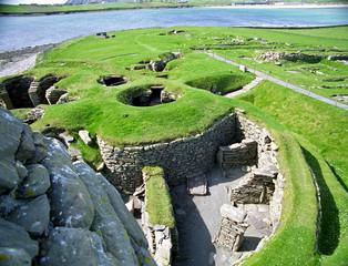 Viking ruins, Jarslhof, Shetland, Scotland