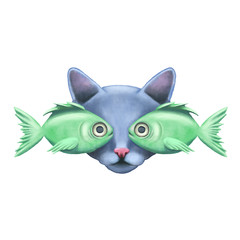 Watercolor vector cat and fishes illustration.