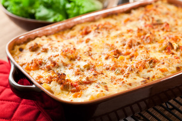 Classic Homemade Lasagna with long simmered ragu and béchamel sauce.