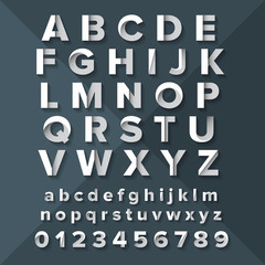 Vector Alphabet Set Silver on Dark Blue background.