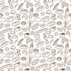 Hand drawn bakery seamless pattern background.
