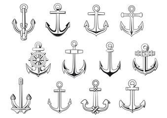 Black outline anchor design elements