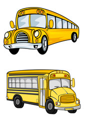 Yellow school buses isolated on white