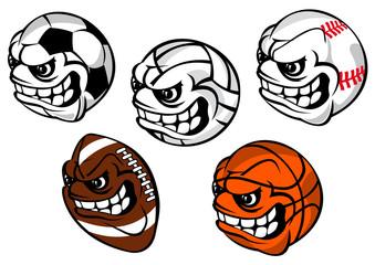 Cartoon balls mascots for sporting games