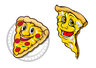 Cartoon vegetarian pizza characters with tomatoes, mushrooms