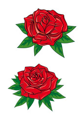 Cartoon blooming red roses with leaves