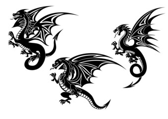 Black flying dragons tattoo design