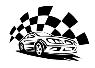 Racing car with checkered flag silhouette