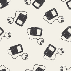 music player doodle drawing seamless pattern background