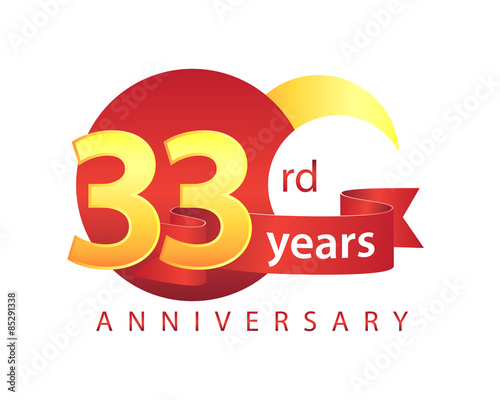 "33rd Wedding Anniversary Gift: ""33 Years Anniversary Logo"" Stock Image And Royalty-free"