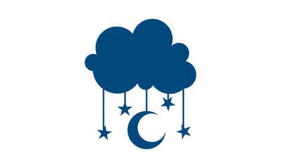 Stars and Crescent Moon Hanging in Cloud