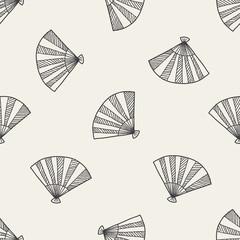 Fan doodle seamless pattern background