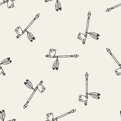 Indians Pipe smoke doodle seamless pattern background