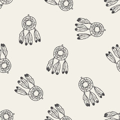 Dreamcatcher doodle seamless pattern background