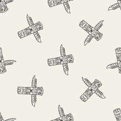 Totem Pole doodle seamless pattern background