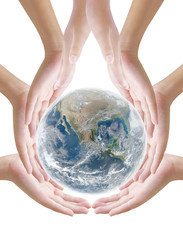 Hand  holding earth  ,concept background , Elements of image are furnished by NASA