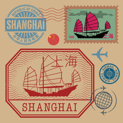 Travel stamps set with the text Shanghai