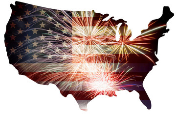 USA Flag in Map Silhouette with Fireworks