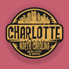 Stamp or label with name of Charlotte, North Carolina